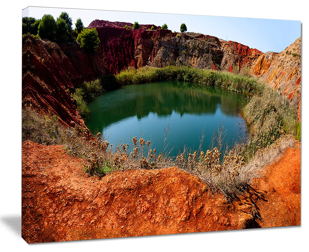 Bauxite Mine With Lake Landscape Canvas Photo Print Contemporary Prints And Posters By Design Art Usa