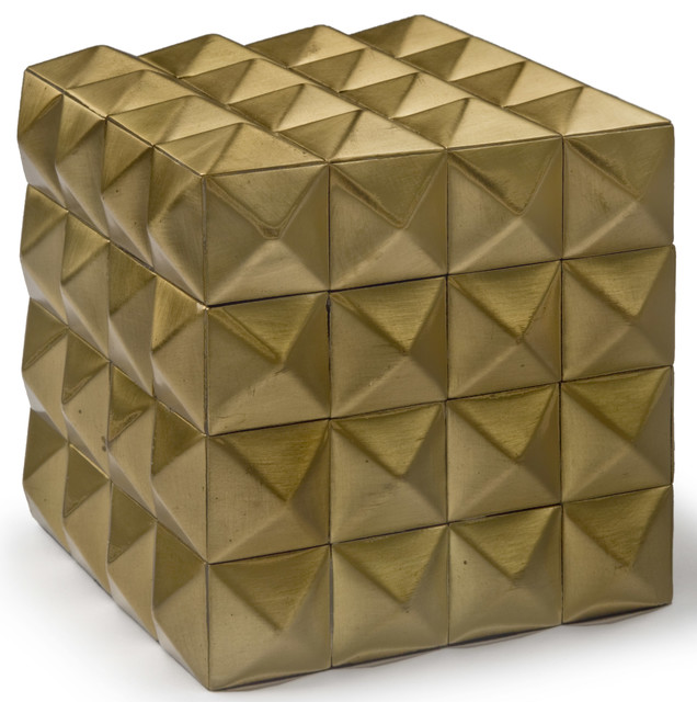 Decorative Photo Boxes Captivating Lisbeth Modern Classic Gold Pyramid Cubic Box  Modern 2018