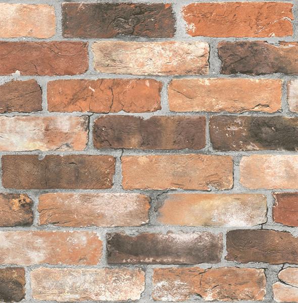 Superior Brick Style Wallpaper Part - 2: Brick Pattern Wallpaper, Orange/Black/Brown, Bolt Contemporary-wallpaper