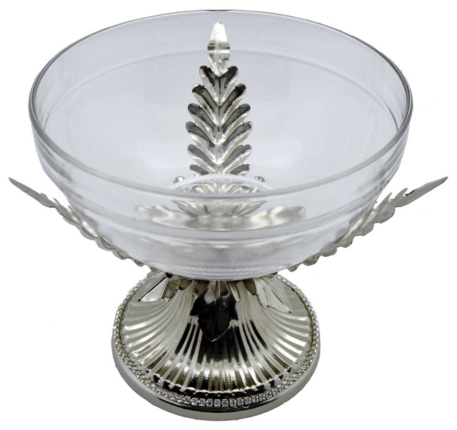 Fine Glass Round Bowl On Metallic Silver Base Tray Stand