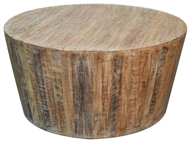 Distressed White Reclaimed Round Tapered Sides Coffee