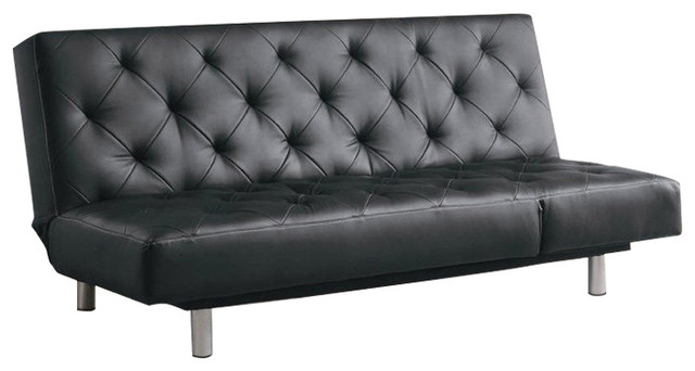 Vinyl Tufted Sofa Bed/Oversize Chaise, Black Contemporary Futons