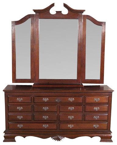 Solid Mahogany 7 Drawer Chest Vanity Dresser W 3 Beveled Mirrors