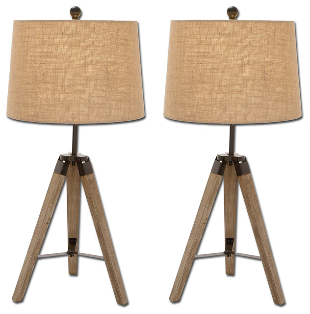 Weathered Wood Tripod Table Lamps Set Of 2
