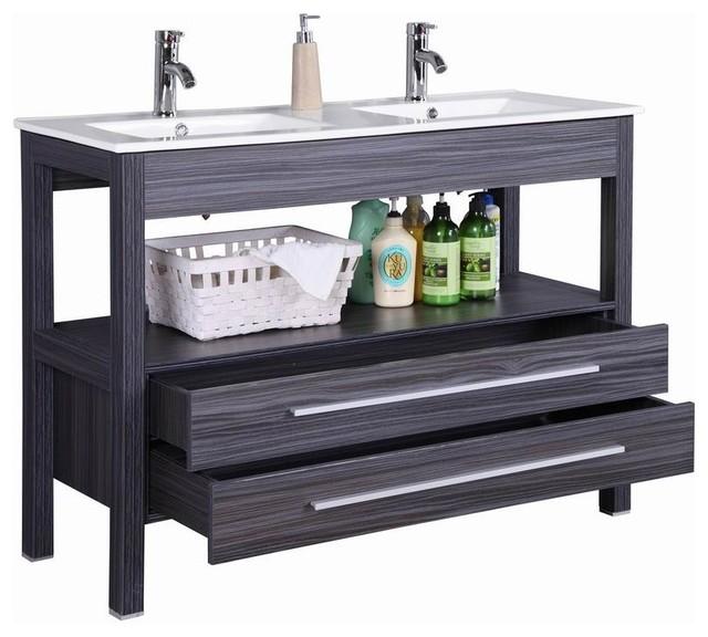48 Freestanding Modern Veneer Double Sink Bathroom Vanity With Stone Top