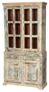 """Sierra Living Concepts - White Washed Reclaimed Wood 78.5"""" Breakfront Hutch Buffet Cabinet ..."""