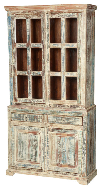 White Washed Reclaimed Wood 78 5 Breakfront Hutch Buffet Cabinet