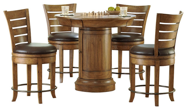 Hammary furniture hammary hidden treasures 5 piece round for Round dining table with hidden chairs