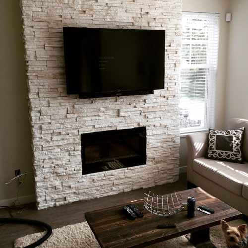 Stacked Ledge Stone Fireplace Is Cultured Alpine In Winterhaven White Available From Brock Construction Materials