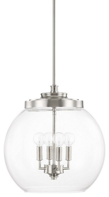 Mid-Century Four Light Pendant Polished Nickel Clear Glass.