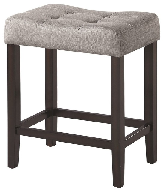 Espresso Wood Counter Height Stools With Tufted Fabric