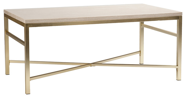 orinda faux stone cocktail table, travertine - transitional