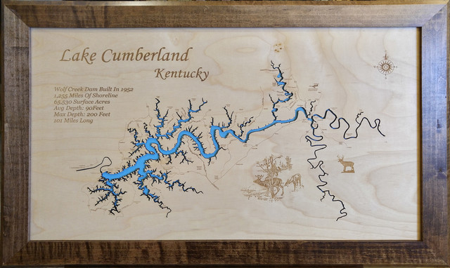 Lake Cumberland, Kentucky-Wood Lake Map - Rustic - Wall Accents - by ...