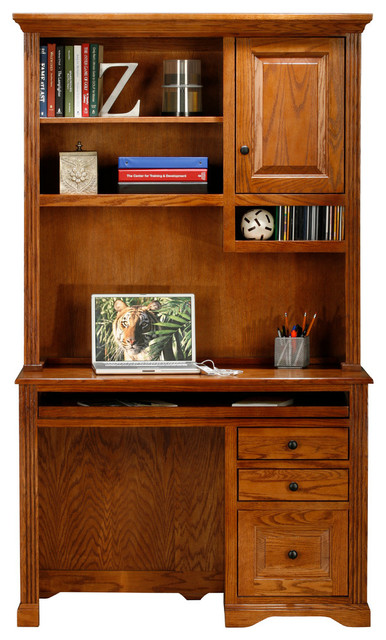 Eagle Furniture, Oak Ridge Single-Pedestal Desk, Concord Cherry, With Hutch.