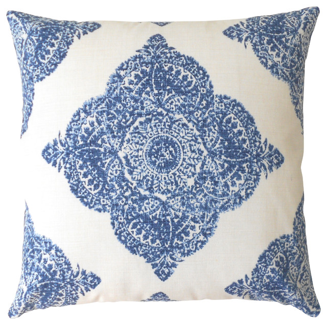 Medallion Ikat Pillowcase, Navy.