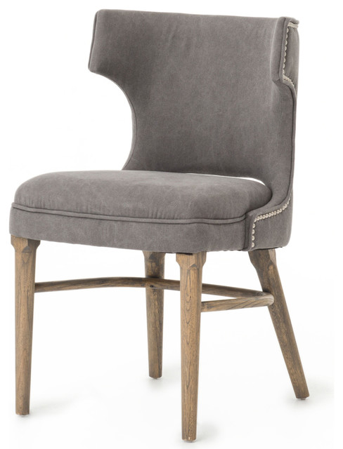 Attrayant Greenwich Curved Back Charcoal Gray Canvas Dining Chair