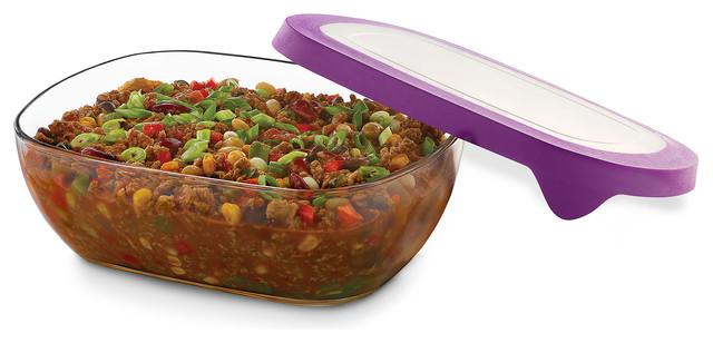 Serve It 2-Piece, 8.25-Cup Rectangle Glass Serveware Set With Purple Lids.