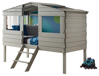 Safari Tree House Bed, Loft, Rustic Gray