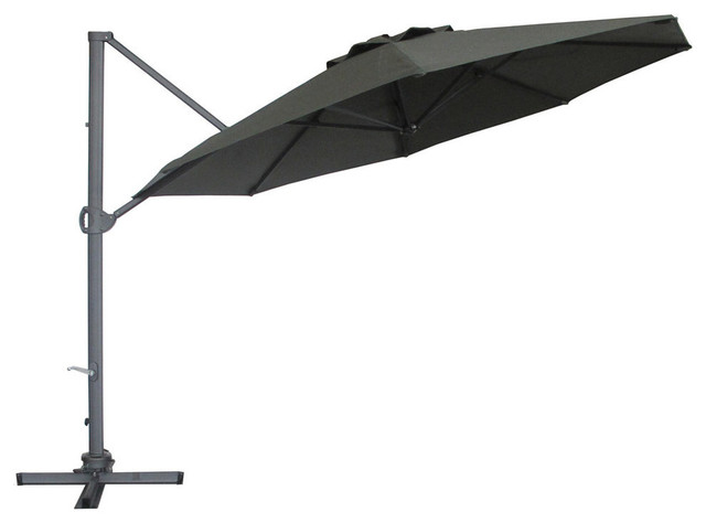 Abba Patio 11u0027 Cantilever Patio Umbrella With Base, 360 Rotating Device  Transitional Outdoor