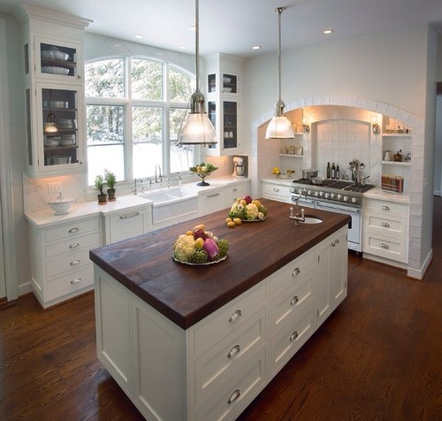 kitchen design with no top cabinets.  POLL Design kitchen with an interior wall without UPPER cabinets