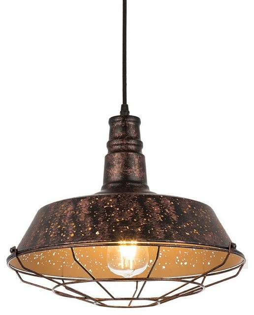 Vintage Industrial Dome Shade Hanging Pendant Lights with Metal Cage
