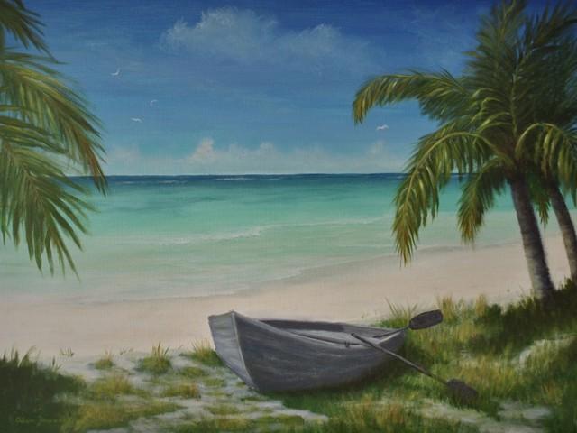 Original Tropical Caribbean Seascape Beach Painting
