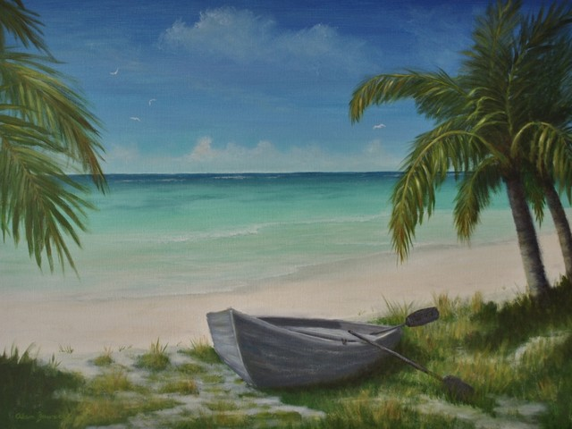 original tropical caribbean seascape beach painting