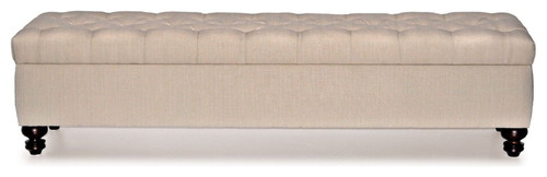Chesterfield Button Tufted Storage Bench, Ottoman, Bed Chest, Natural Color