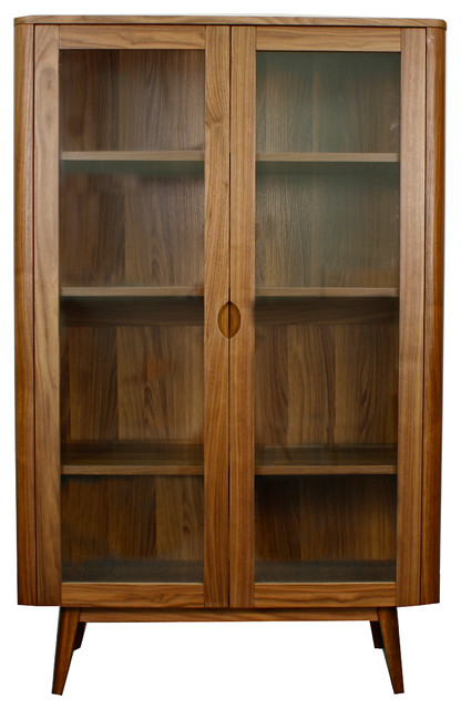 Milano Glass Door Cabinet, Walnut - Midcentury - China Cabinets And Hutches - by New Pacific ...