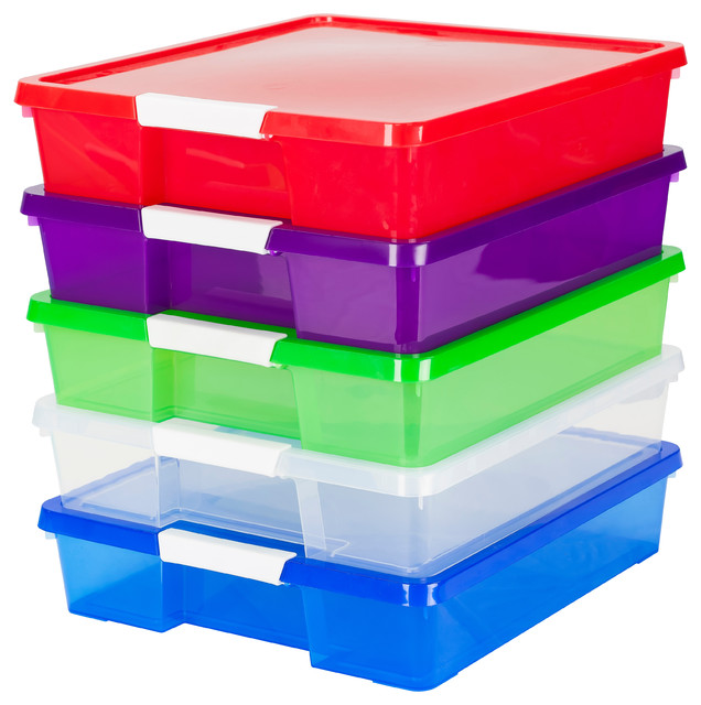 12x12 Stacks And Store Boxes, Assorted Colors, 5-Piece Set.