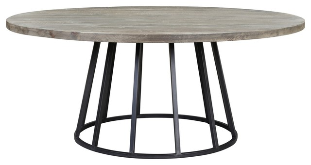"Knox 72"" Round Dining Table, Storm Gray Reclaimed Wood"