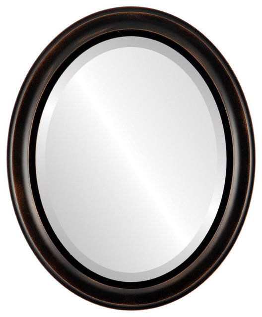 """Messina Framed Oval Mirror In Rubbed Bronze, 23""""x27""""."""