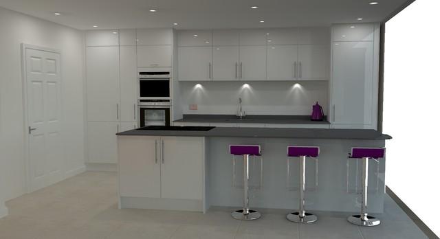 High Gloss White Modern Kitchen With Island Island Lights Purple Accessories Modern Kitchen Dorset By Kitchen Designs 4 U Houzz Uk