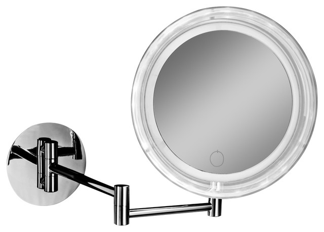 Dwba Touch Wall Cosmetic Makeup 5x Led Light Dimmer Magnifying Mirror, Chrome.