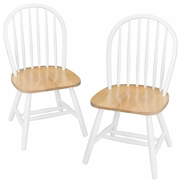 Winsome Wood Windsor Chair Natural And White Finish Set Of