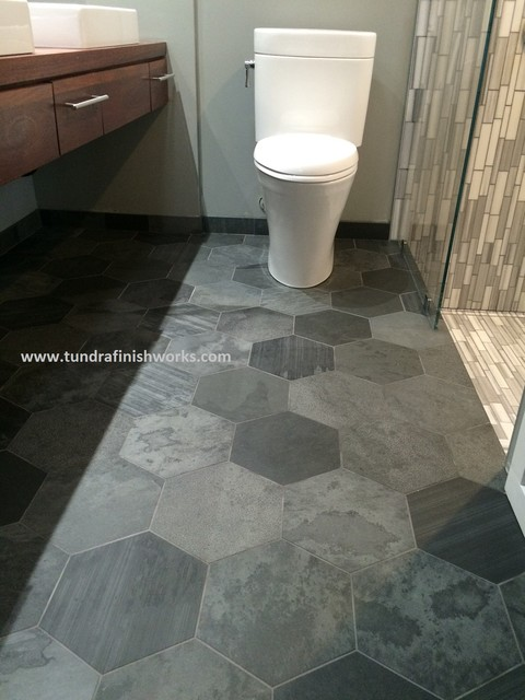 Large Slate Hexagon Tiled Floor Eclectic Bathroom
