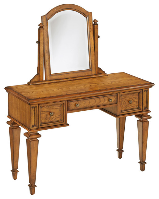 americana vanity and mirror set brown transitional