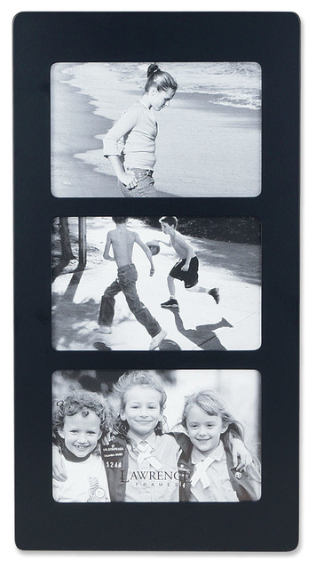 Black Wood 6x4 Multi Triple Horizontal Picture Frame - Transitional ...