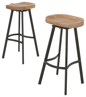 Shea wood and iron rustic Swivel Bar Stool , Set of 2