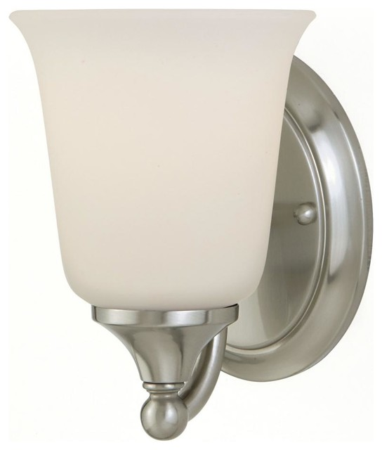 One Light Brushed Steel White Opal Glass Bathroom Sconce - Transitional - Bathroom Vanity ...