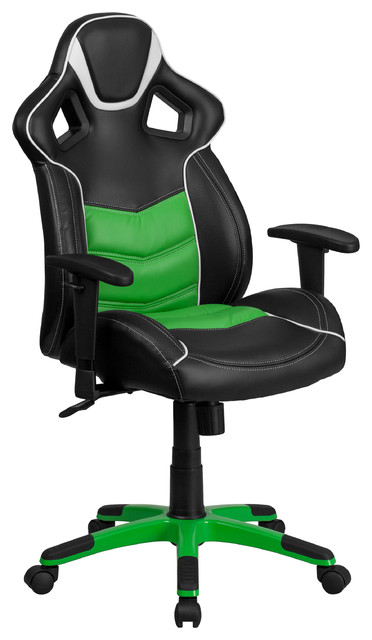 Marvelous Kiran High Back Office Chair, Black, Green Contemporary Gaming Chairs
