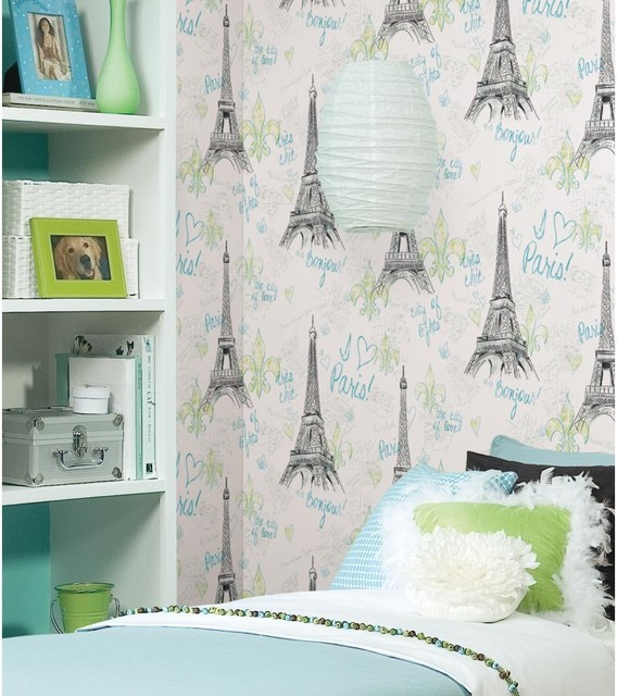 Paris Green Wallpaper Eclectic Bedroom
