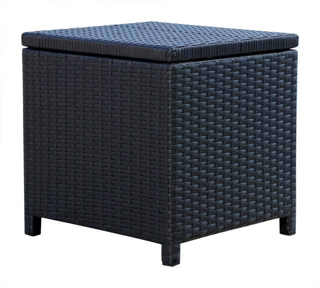 Enjoyable Abbyson Living Newport Outdoor Wicker Storage Ottoman Black Caraccident5 Cool Chair Designs And Ideas Caraccident5Info