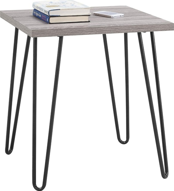 Stylish Metal Hairpin Style Legs End Table, Sonoma Oak/Gunmetal Gray, Sonoma