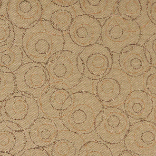 Beige Brown and Gold Overlapping Circles Durable Upholstery Fabric By The Yard