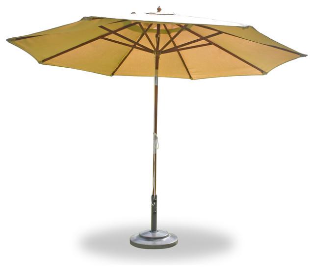 11&x27; Round Umbrella Wooden Pole Canvas Hot Pink Sunbrella Cushion.
