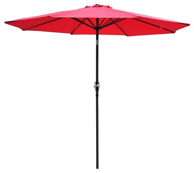 9&x27; Premium Outdoor Patio Tilting Umbrella With Crank Open, Red.