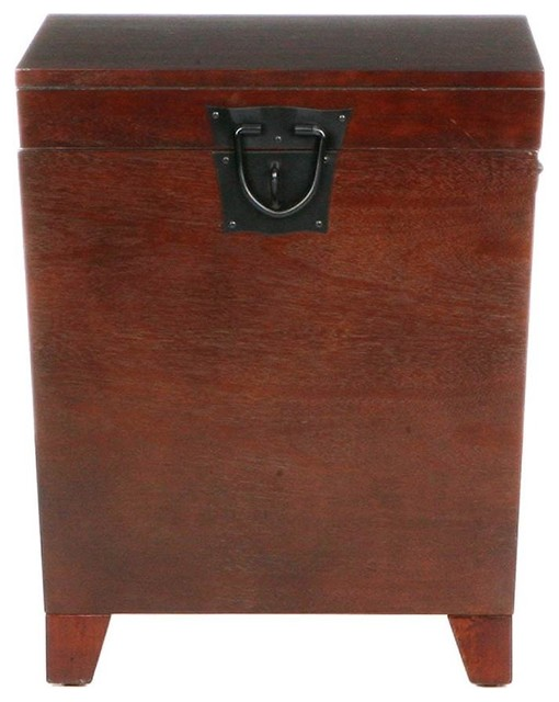 Perfect Pyramid Trunk End Table, Espresso Transitional Side Tables And End