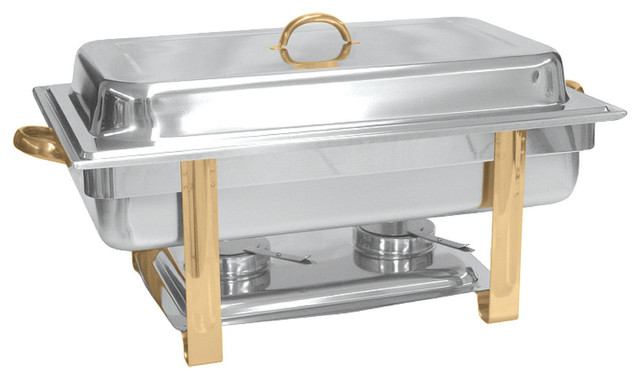 8 Qt Gold Accented Oblong Chafer