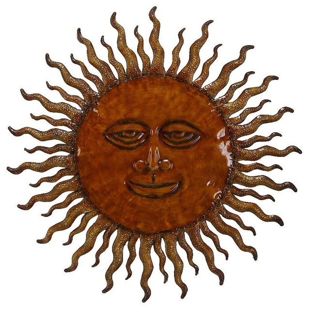 Sun Wall Art contemporary new age metal happy sun wall art gold accent decor
